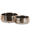 Ceramic Round Pot Set of Two Combed Finish Polished Chrome Finish Bronze