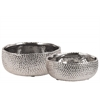 Ceramic Round Pot With Uneven Lip Set Of Two Dimpled Polished Chrome Finish Silver
