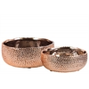 Ceramic Round Pot With Uneven Lip Set Of Two Dimpled Polished Chrome Finish Copper