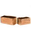 Ceramic Rectangular Planter with Engraved Criss Cross Design Set of Two Electroplated Finish Rose Gold