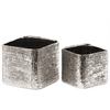 Ceramic Square Planter with Engraved Criss Cross Design Set of Two Electroplated Finish Antique Silver