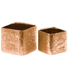 Ceramic Square Planter with Engraved Criss Cross Design Set of Two Electroplated Finish Rose Gold