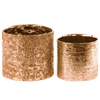 Ceramic Tall Round Vase with Engraved Criss Cross Design Set of Two Electroplated Finish Rose Gold