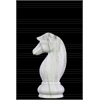 "Ceramic Chess Piece ""Knight"" Figurine Marbleized with Gray Streaks Gloss Finish White"