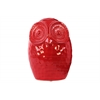 Ceramic Round Owl Figurine LG Gloss Finish Red