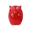 Ceramic Owl Figurine Gloss Finish Red