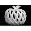 Ceramic Apple Figurine with Leaf on Stem and Cutout Design Body LG Coated Finish White