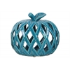 Ceramic Apple Figurine with Leaf on Stem and Cutout Design Body LG Coated Finish Blue
