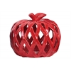 Ceramic Apple Figurine with Leaf on Stem and Cutout Design Body LG Coated Finish Red