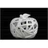 Ceramic Apple Figurine with Leaf on Stem and Cutout Design Body SM Coated Finish White