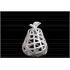 Ceramic Pear Figurine with Leaf on Stem and Cutout Design Body SM Coated Finish White