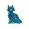 Ceramic Sitting Fox Figurine with Tail Folded Towards Body Gloss Finish Blue