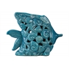 Ceramic Fish Figurine with Cutout Coal Design and Base Distressed Gloss Finish Blue