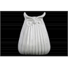 Ceramic Owl Figurine with Ribbed Design Body LG Gloss Finish White