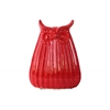 Ceramic Owl Figurine with Ribbed Design Body LG Gloss Finish Red