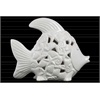 Ceramic Fish Figurine with Cutout Coal Design Body Distressed Gloss Finish White
