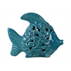Ceramic Fish Figurine with Cutout Coal Design Body Distressed Gloss Finish Blue