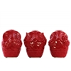 Ceramic Owl No Evil (Hear/See/Speak) Figurine Assortment of Three Coated Finish Red