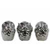 Ceramic Owl No Evil (Hear/See/Speak) Figurine Assortment of Three Polished Chrome Finish Silver