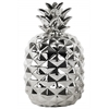 Ceramic Pineapple Figurine LG Polished Chrome Finish Silver