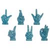 Ceramic Hand Signal Sculpture on Base Assortment of Six SM Gloss Finish Blue