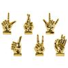 Ceramic Hand Signal Sculpture on Base Assortment of Six SM Chrome Finish Gold