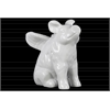 Ceramic Sitting Winged Pig Figurine Gloss Finish White