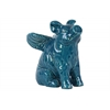Ceramic Sitting Winged Pig Figurine Gloss Finish Turquoise
