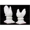 Stoneware Rooster Figurine on Pedestal Set of Two Distressed Gloss Finish White
