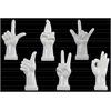 Ceramic Hand Signal Sculpture on Base Assortment of Six LG Gloss Finish White