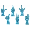 Ceramic Hand Signal Sculpture on Base Assortment of Six LG Gloss Finish Blue