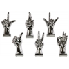 Ceramic Hand Signal Sculpture on Base Assortment of Six LG Chrome Finish Silver