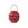 Ceramic Spherical Lantern with Cutout Quatrefoil Design and Metal Handle Gloss Finish Red
