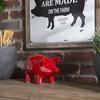 Ceramic Standing Pig Figurine LG Gloss Finish Red