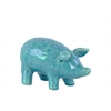 Ceramic Standing Pig Figurine SM Gloss Finish Blue