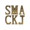 "Ceramic Alphabet Tabletop Decor Letter ""SMACKJ"" with Embossed Diamond Design Assortment of Six LG Gloss Finish Gold"