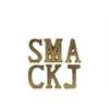 "Ceramic Alphabet Tabletop Decor Letter ""SMACKJ"" with Embossed Diamond Design Assortment of Six SM Gloss Finish Gold"