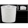 Ceramic Round Canister with Handle on Lid LG Gloss Finish White