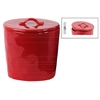 Ceramic Round Canister with Handle on Lid LG Gloss Finish Red