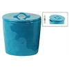 Ceramic Round Canister with Handle on Lid LG Gloss Finish Turquoise