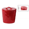 Ceramic Round Canister with Handle on Lid SM Gloss Finish Red