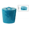 Ceramic Round Canister with Handle on Lid SM Gloss Finish Turquoise