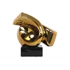 Ceramic Ribbon Abstract Sculpture on Rectangle Base Polished Chrome Finish Gold