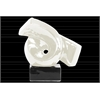 Ceramic Ribbon Abstract Sculpture on Rectangle Base Gloss Finish White