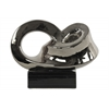 Ceramic Infinity Abstract Sculpture on Rectangle Base Polished Chrome Finish Silver