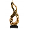 Ceramic Standing Infinity Abstract Sculpture on Rectangle Base Polished Chrome Finish Gold