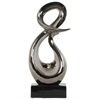 "Ceramic ""&"" Abstract Sculpture on Rectangle Base Polished Chrome Finish Silver"