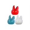 Ceramic Hen Figurine Assortment of Three Assorted Colors Gloss Finish (White,Turquoise and Red)