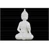 Ceramic Meditating Buddha Figurine with Pointed Ushnisha in Abhaya Mudra Gloss Finish White