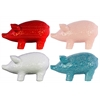 Ceramic Standing Pig Figurine with Engraved Floral Design Assortment of Four Assorted Colors LG Gloss Finish (White, Pink, Red and Turquoise)